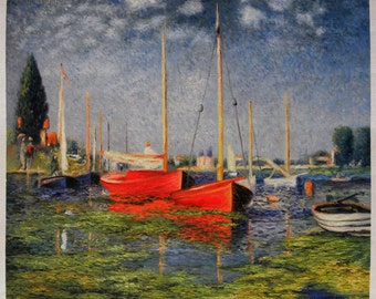 The Red Boats - Claude Monet high quality hand-painted oil painting reproduction (33.4 x 40 in.)