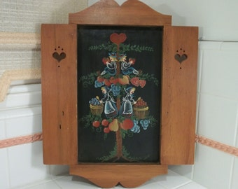 SALE: Vintage Penn Dutch Tole Painting on Oil Cloth in Unique Maple Frame~Heart Cut-Outs~Folk Art