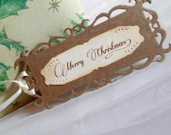 Christmas Gift Tags -  Set of 3 - Merry Christmas - Layered