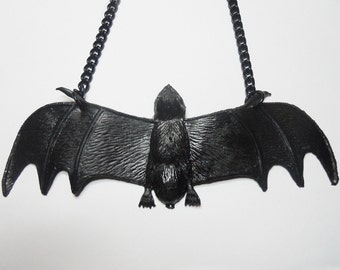 Black Rubber Bat Necklace