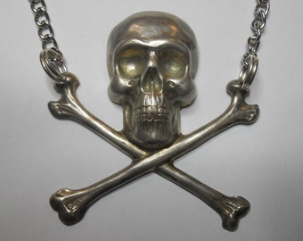 Silver Skull and Crossbones Necklace