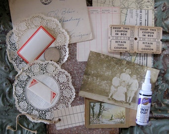 DIY - Vintage Book Board Collage Kit, Complete with Glue
