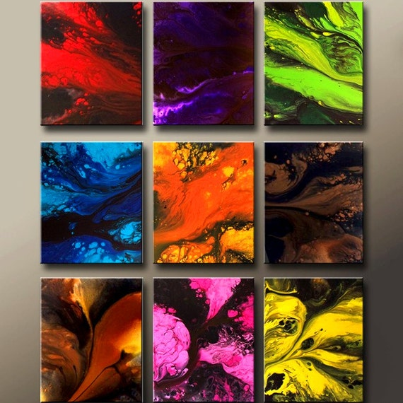Original Abstract Art Huge 9pc Custom Made to Order Commision Modern Contemporary Fine Art Painting by Destiny Womack - dWo - GIANT 60x48