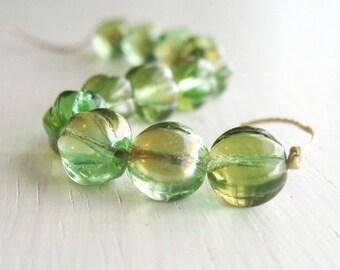 25 Green Celsian Czech Glass Melon Beads 8mm