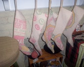 Long Christmas Stocking Made from Feed Sacks From Funk Bros. Farm