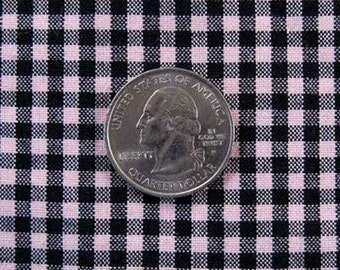 "GINGHAM CHECK 1/8"" Pink & Black 100% Cotton Fabric - by the Yard, Half Yd, Quarter Yd, FQ (16 other colors)"