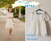 Cotton Lace Flower Girl Dress -  Made to Order - Long Sleeves, Matching with Bride, Tie Back