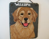 Golden Retriever (full face) Welcome Slate