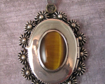 Taxco Voo Mexican silver pendant with Tigers eye  large size locket Secret compartment  sp