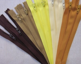 10 x 5 inch Brown Yellow Zippers