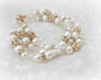 Gold Pearl Wedding Bracelet, Pearl and Rhinestone 3 strand Bridal Bracelet, Pearl Wedding Bracelet, Statement Bracelet