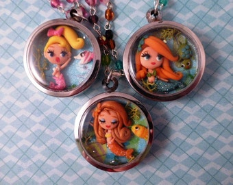 OOAK Sweet Mermaid with Friends Shadowbox Pendant Necklace Pinky