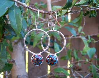 Sterling Silver and Glass Flower Hoop Earrings