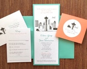 Items similar to City Skyline Wedding Invitation Seattle San