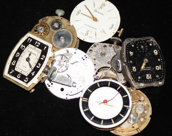 Vintage Antique Industrial Looking Watch Movements Steampunk Altered Art Assemblage DI 56