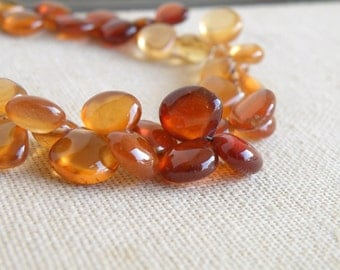 Hessonite Garnet Gemstone Briolette Maroon Smooth Heart 7 to 7.5mm 24 beads 1/2 Strand