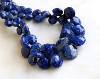 Lapis Briolette Gemstone Faceted Heart Top Drilled 8.5 to 9mm 18 beads
