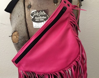 Pink leather fringe hip bag End of Summer Sale  29.00