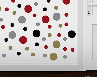 items similar to set of 26 black metallic gold circles vinyl wall graphic decals stickers. Black Bedroom Furniture Sets. Home Design Ideas