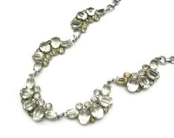 Vintage Art Deco Necklace - Open Back Clear Paste or Glass