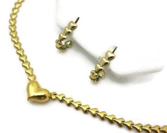 Avon Heart Necklace & Earrings - Vintage Costume Jewelry Set
