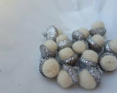 Silver Metallic Felted Acorns in Winter White Holiday Decor Home and Living
