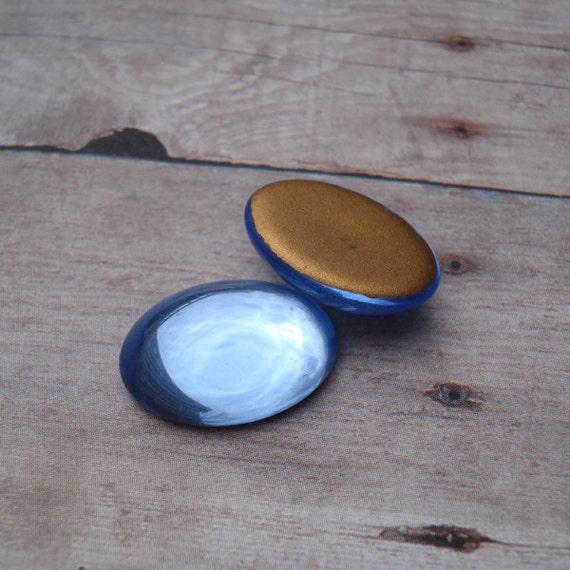 Vintage 18x13mm Czech Light Sapphire Blue Gold Foiled Flat Back Oval Glass Cabs (6 pieces)