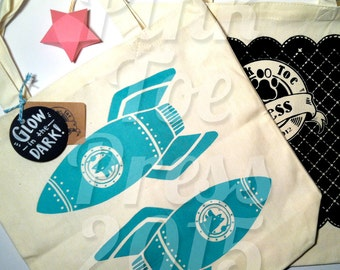 GLOW in the DARK Teal Rocket Dog Tote Bag Duo on Natural Canvas