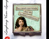 "Funny Pill Box - Funny Compact Mirror - Sassy Vintage Ladies ""Cuss Words"" - Pill Case - Funny Women - Retro Humor - Retro Women - Pillbox"