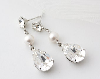 Wedding Earrings Simple Crystal Teardrop Earrings Swarovski Rhinestone Crystal Pearl Bridal Earrings Wedding Jewelry SALLY