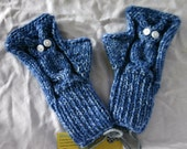 Blue Owl Fingerless Gloves, Ready to Ship