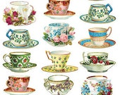 Self Adhesive Tea Cups Stickers 1 Sheet Colorful Scrapbooking Stickers  Number 93