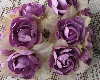Paper Flowers 12  Millinery Pacific Roses In Purple