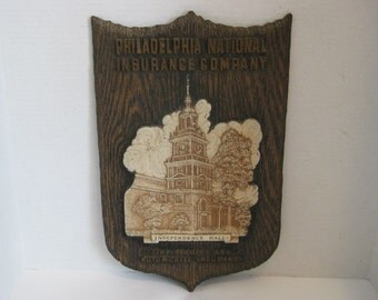 Insurance Advertising Sign Philadelphia National Insurance Co. Fire Marine Auto