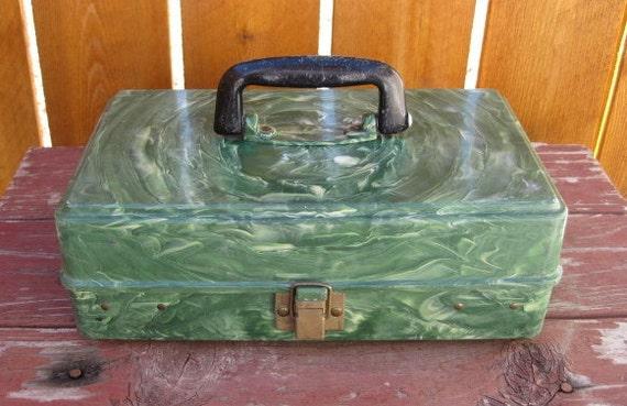 vintage plano green marble plastic fishing tackle box storage