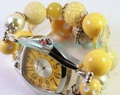Sunshine Day.. All Yellow Chunky Wood and Acrylic Interchangeable Beaded Watch Band, Bracelet Watch