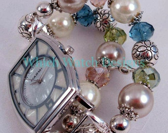 Pearls and Crystals.. Interchangeable Beaded Watch Band, Glass Pearls, Pink, Blue, Green Crystals