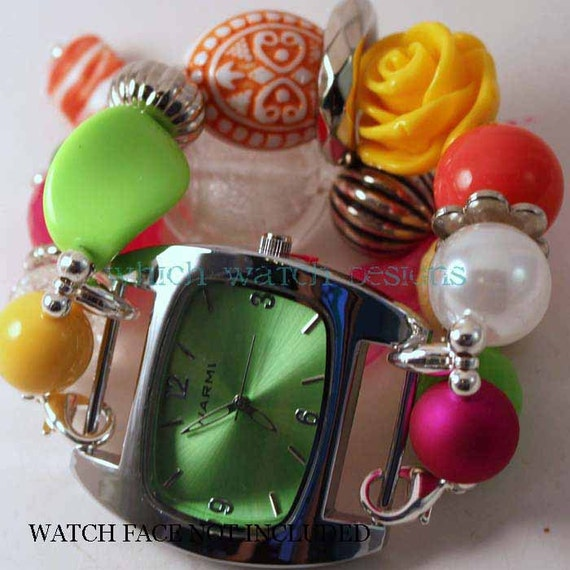 Shabby Chic Tutti Fruity.. Chunky Hot Pink, Lime, Orange, Yellow and White Interchangeable Beaded Watch Band
