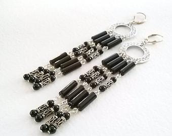 Black Onyx and Sterling Silver Chandelier Shoulder Length Earrings