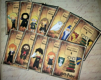 HARRY POTTER - Bookplates - stocking stuffers - Set of 12 - 10 characters plus house crests - Self-Adhesive - Custom - HPBP 2334