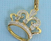 Solid 14K Yellow Gold Diamond Crown Charm Necklace Pendant