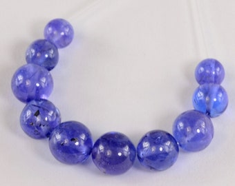 4.3MM-6.2MM Gem Tanzanite Smooth Round Rondelle Beads (10)