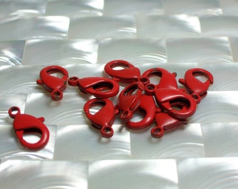1pc Lobster Clasp, Powder coat Clasp, Findings, Glossy Red 19mm, Medium/Large, Jewelry/Jewellery/Craft Supplies