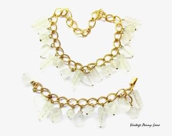 Vintage Necklace Bracelet Set, Frosty Lucite Beaded Gold Chain
