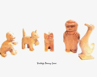 Collection of Handmade Wood Carvings / Figures