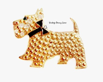 Scottish Terrier Dog Dog Pin, Gold / Rhinestone Enamel Brooch