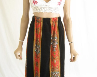 Vintage 70s Velvet Boho Festival  Maxi Skirt.