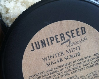 Winter Mint Sugar Scrub - eco-friendly post consumer resin jar - made with Organic Ingredients