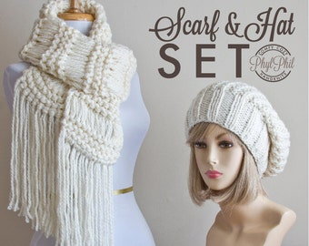 Chunky Knit Scarf and Slouchy Beanie Set, Hand Knit Winter White Cream Infinity or Fringe Scarf & Slouch Hat Set, Women's Winter Accessories