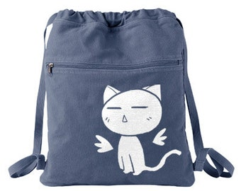 Cute Kitty Backpack - Angel Wings - drawstring bag anime cute cat bag japanese kawaii bag harajuku decora Japan